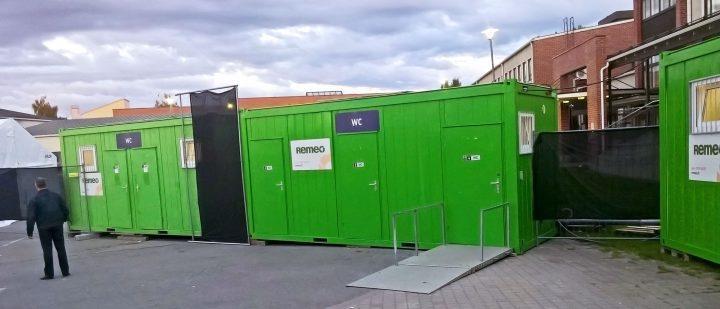 Liikuntarajoitteiset huomioiva wc-kontti
