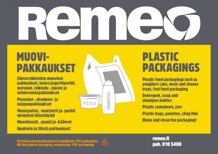 Kotitalouksien muovipakkausten kierrätysohje