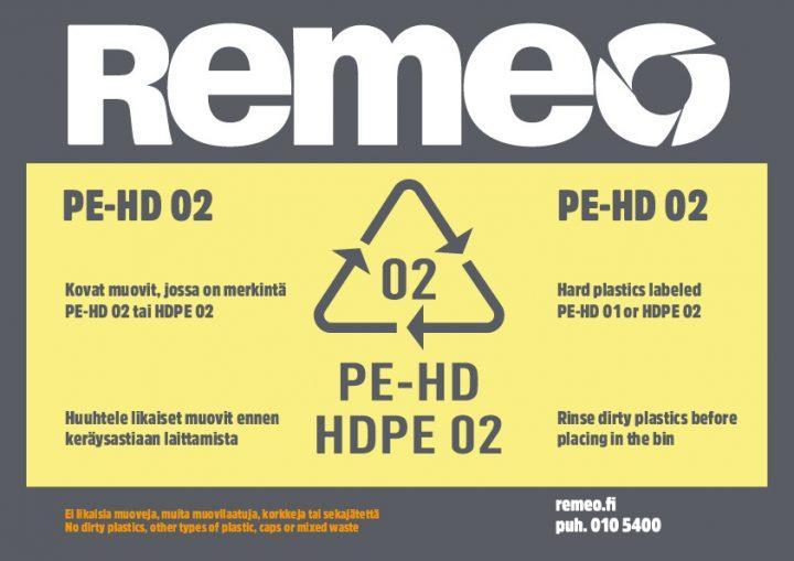 HDPE 2 -muovin kierrätysohje